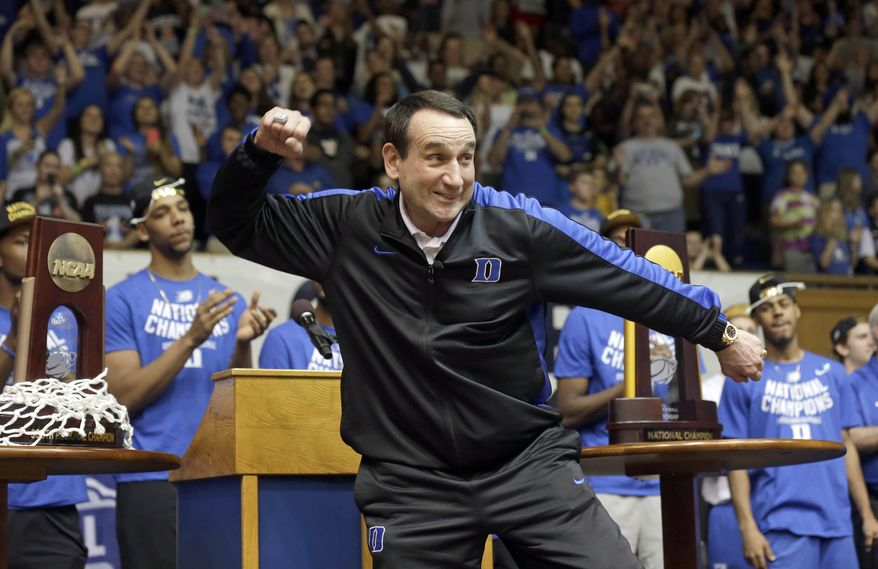 FILE - In this April, 2015 file photo, Duke coach Mike Krzyzewski reacts during a homecoming celebration for the national championship Duke basketball team at Cameron Indoor Stadium in Durham, N.C. Duke is coming off a run to the program's fifth NCAA championship but has a reshaped roster after losing three one-and-done talents to the NBA. (AP Photo/Gerry Broome, File)