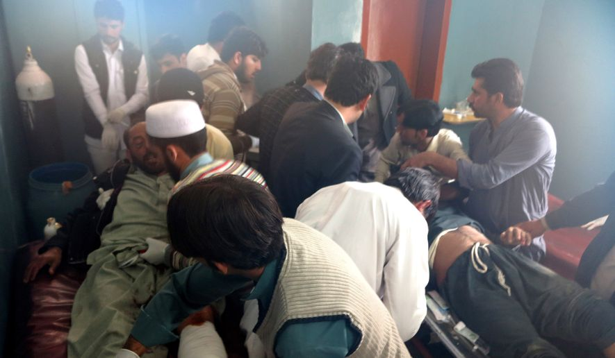 Patients are brought to a hospital after severe earthquake was felt in Mingora, the main town of Pakistan Swat valley, Monday, Oct. 26, 2015. A powerful 7.5-magnitude earthquake in northern Afghanistan rocked cities across South Asia. (AP Photo/Naveed Ali)