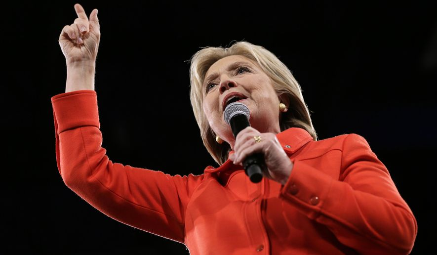 Democratic presidential candidate Hillary Rodham Clinton speaks during the Iowa Democratic Party's Jefferson-Jackson fundraising dinner, Saturday, Oct. 24, 2015, in Des Moines, Iowa. (AP Photo/Charlie Neibergall)