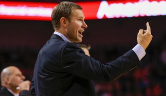 Chicago Bulls coach Fred Hoiberg calls instructions during the second half of an NBA preseason basketball game against the Dallas Mavericks in Lincoln, Neb., Friday, Oct. 23, 2015. (AP Photo/Nati Harnik)