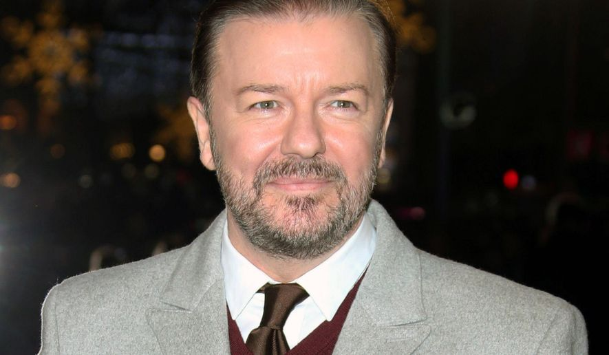 """In this Dec. 15, 2014 file photo, actor Ricky Gervais poses for photographers upon arrival for the premiere of the film """"Night at the Museum, Secret of the Tomb"""" in London. Gervais is set to notch his fourth turn as host of the Golden Globe Awards. The Hollywood Foreign Press Association and NBC announced Monday, Oct. 26, 2015, that the sharp-tongued humorist and film star will preside over the 73rd Annual Golden Globe Awards, set for January 10, 2016.  (Photo by Joel Ryan/Invision/AP, File)"""