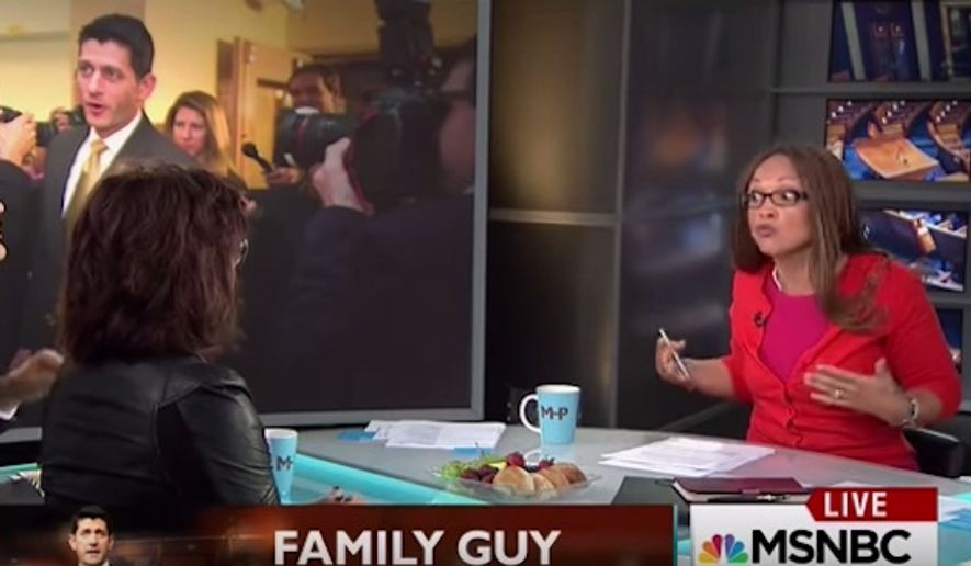 """MSNBC host Melissa Harris-Perry interrupted a conversation on her show Saturday to talk about slavery and """"relative privilege"""" after a guest used the word """"hard worker"""" to describe Wisconsin Rep. Paul Ryan. (MSNBC)"""