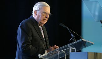 M. Russell Ballard, a member of the Quorum of the Twelve Apostles, speaks during the World Congress of Families event Tuesday, Oct. 27, 2015, in Salt Lake City. About 3,000 attendees are expected in Salt Lake City for the four-day World Congress of Families event to hear a lineup of 185 speakers explain why they think families led by a man and woman who are married are best for society. (AP Photo/Rick Bowmer)