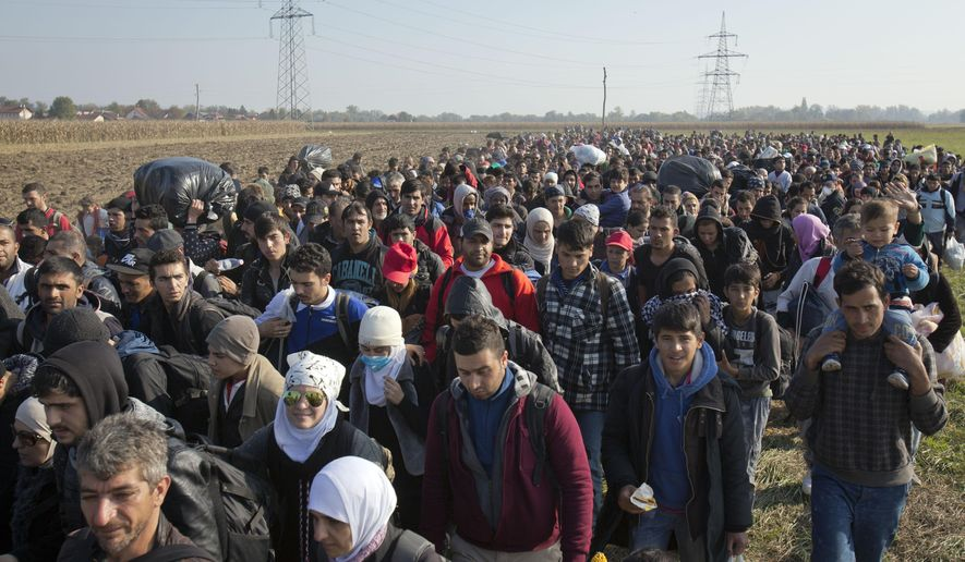 Migrants walk through a field after crossing from Croatia, in Rigonce, Slovenia, Monday, Oct. 26, 2015. Thousands of people are trying to reach central and northern Europe via the Balkans but often have to wait for days in mud and rain at the Serbian, Croatian and Slovenian borders. (AP Photo/Darko Bandic)