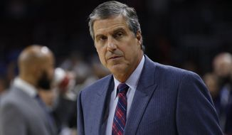 Washington Wizards' head coach Randy Wittman looks on during the first half of an NBA preseason basketball game against the Philadelphia 76ers, Friday, Oct. 16, 2015, in Philadelphia. The Wizards won 127-118. (AP Photo/Chris Szagola)