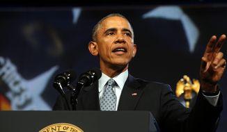 President Barack Obama speaks to the International Association of Chiefs of Police in Chicago, Tuesday, Oct. 27, 2015. (Antonio Perez/Chicago Tribune via AP) ** FILE **