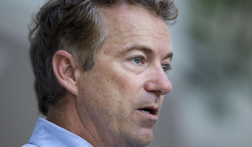 Republican presidential candidate Sen. Rand Paul, R-Ky., speaks during the opening of his campaign office in Las Vegas, Monday, Oct. 26, 2015. (Steve Marcus/Las Vegas Sun via AP)