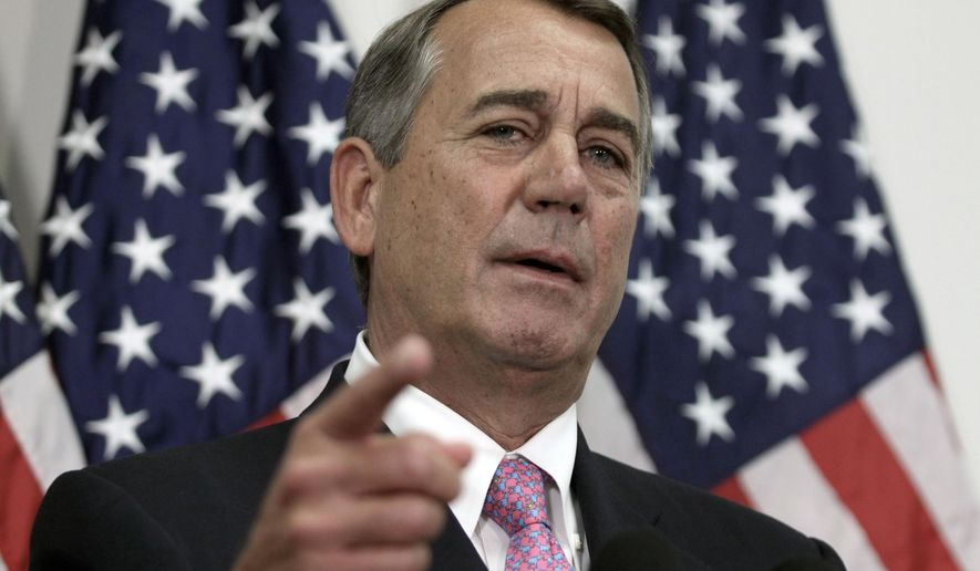Outgoing House Speaker John Boehner of Ohio talks with reporters on Capitol Hill in Washington on Oct. 27, 2015. (Associated Press) **FILE**