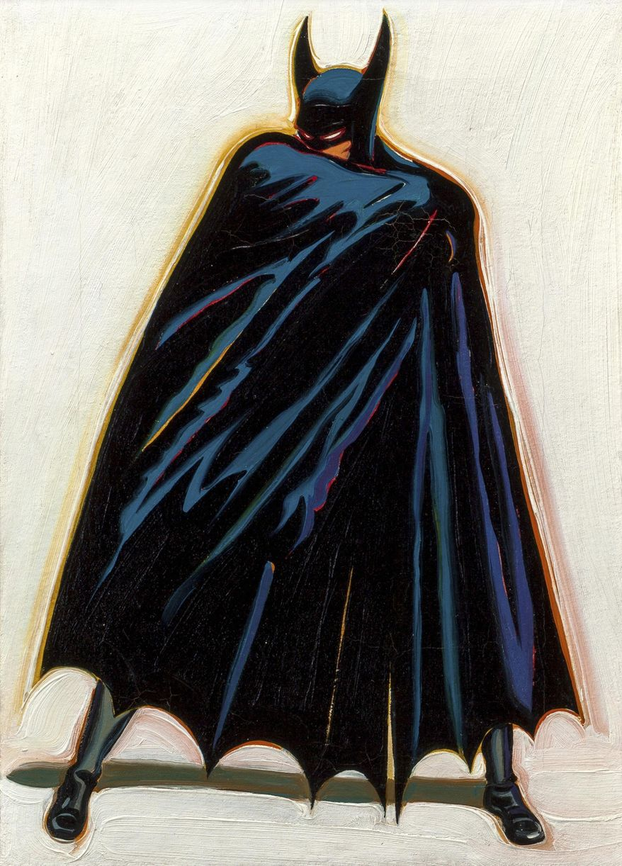 """This undated photo provided by Heritage Auction shows a 1962 painting titled """"A Sinister Figure Lurks in the Dark,"""" by pop artist Mel Ramos. The artist traded it to a man for a stack of comic books more than a half-century ago and it is expected to bring more than $100,000 at auction by Dallas-based Heritage Auctions in New York on Wednesday, Oct. 28, 2015. (Heritage Auctions via AP Photo)"""