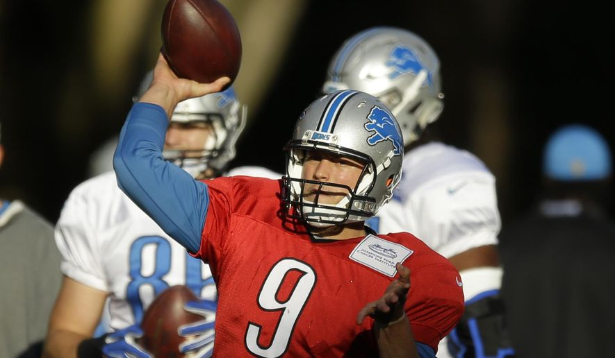 Detroit Lions quarterback Matthew Stafford takes part in a training session at the Grove Hotel in Chandler's Cross, England, Wednesday, Oct. 28, 2015.  The Detroit Lions are due to play the Kansas City Chiefs at Wembley stadium in London on Sunday in a regular season NFL game.  (AP Photo/Matt Dunham)