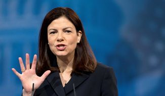 Sen. Kelly Ayotte, New Hampshire Republican, is facing a challenge from Gov. Maggie Hassan, who like Mrs. Ayotte has name recognition. Both women, however, may see their fates decided by whoever wins the state in the battle for the White House. (Associated Press)