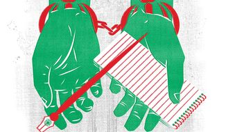 Illustration on Iran's treatment of journalists by Linas Garsys/The Washington Times