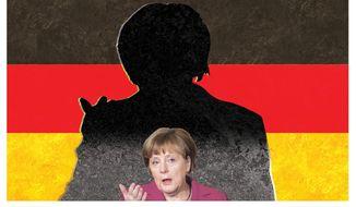Illustration on Angela Merkel's shrinking stature as leader of Germany by Alexander Hunter/The Washington Times