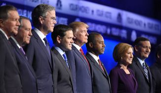 Republican presidential candidates, from left, John Kasich, Mike Huckabee, Jeb Bush, Marco Rubio, Donald Trump, Ben Carson, Carly Fiorina, and Ted Cruz take the stage during the CNBC Republican presidential debate at the University of Colorado, Wednesday, Oct. 28, 2015, in Boulder, Colo. (AP Photo/Mark J. Terrill) ** FILE **