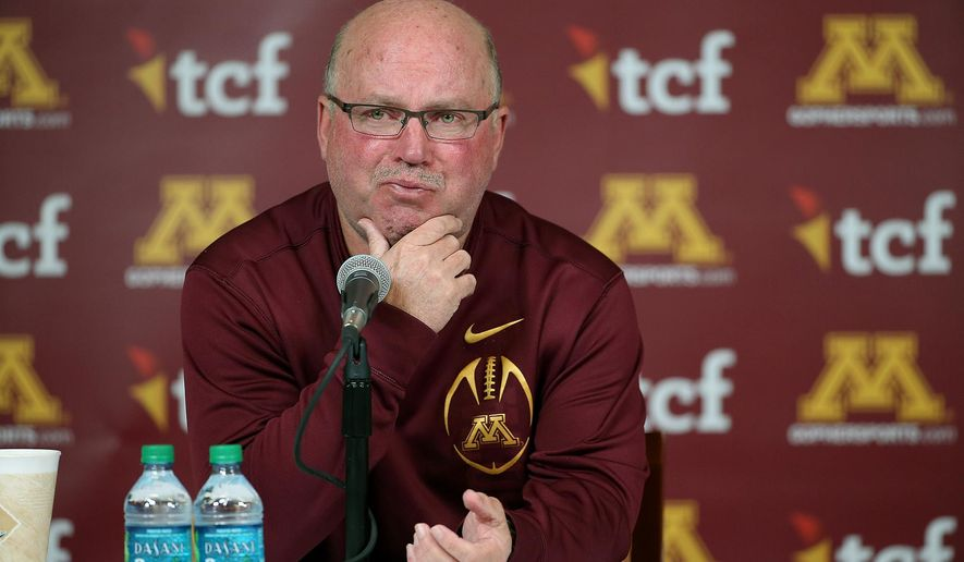 University of Minnesota NCAA college football coach Jerry Kill becomes emotional as he speaks during a press conference Wednesday, Oct. 28, 2015, at TCF Bank Stadium in Minneapolis, Minn. Minnesota coach Jerry Kill abruptly retired because of health reasons on Wednesday, ending his efforts to rebuild the Golden Gopher football program during a tenure that included a series of game-day seizures. No specific reason was cited in Minnesota's retirement announcement, but Kill has epilepsy and had to take a leave of absence from the team in 2013 while dealing with seizures. The surprising announcement came one day after Kill missed a scheduled meeting with the media.   (Elizabeth Flores/Star Tribune via AP)