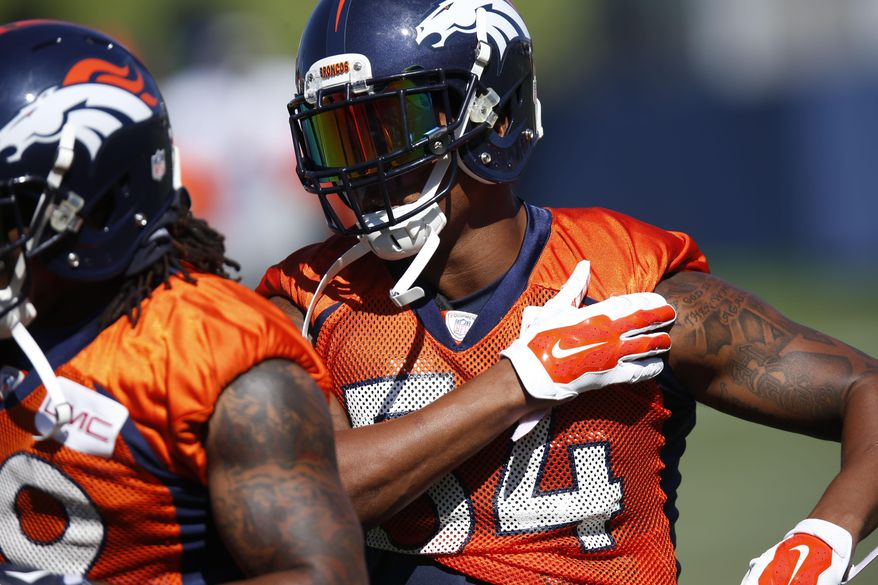 FILE - In this Saturday, Aug. 1, 2015, file photograph, Denver Broncos outside linebacker Brandon Marshall takes part in a drill at the team's NFL football training camp in Englewood, Colo. Marshall is among a group of some of the NFL's best players who have risen from the ranks of the teams' practice squads. (AP Photo/David Zalubowski, file)