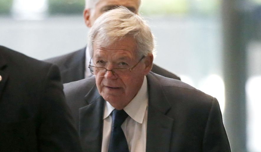 Former U.S. House Speaker Dennis Hastert leaves the federal courthouse Wednesday, Oct. 28, 2015, in Chicago, where he changed his plea to guilty in a hush-money case that alleges he agreed to pay someone $3.5 million to hide claims of past misconduct. (AP Photo/Charles Rex Arbogast)