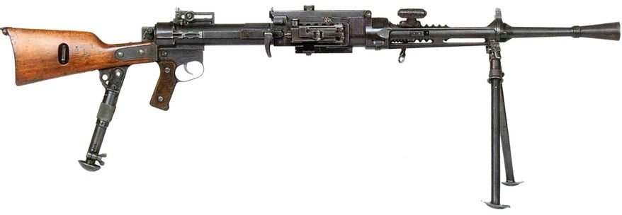 The Fucile Mitragliatore Breda modello 30 was the standard light machine gun of the Royal Italian Army during World War II. The Breda M30 or Breda 30, was rather unusual for a light machine gun. It was fed from a fixed magazine attached to the right side of the weapon and was loaded using brass or steel 20-round stripper clips. If the magazine or its hinge/latch were damaged the weapon became unusable. It also fired from a closed bolt along with using blowback for its action. The blowback operation was violent, and often resulted in poor primary extraction. During primary extraction, the initial very small rearward movement of the hot expanded cartridge case away from the chamber's walls must be powerful but very slow, if an automatic weapon is to be reliable. Separated cases resulting in jamming of the weapon beyond field clearing, were usually the consequence of poor primary extraction. Breda 30 also inherently lacked good primary extraction in its design and thus utilized a small lubrication device that oiled each cartridge as it entered the chamber. With the dust and sand of the deserts of North Africa, came a combination of premature wear and jamming. As an automatic weapon's chamber and barrel heat up with prolonged automatic fire, the resulting excessive temperature can cause a chambered round to cook off or ignite without intent of the gunner. As a result of firing from a closed bolt, the Breda 30 could not fully take advantage of the cooling properties of air circulation like an open bolt weapon would, thus making cooked off rounds a realistic hazard. The disastrous results could lead to potential injuries to or even the death of the gunner.