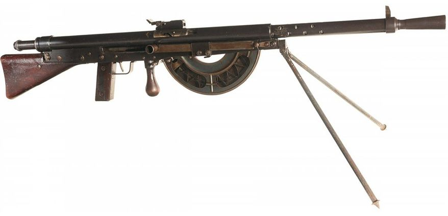 "The Chauchat, named after its main contributor Colonel Louis Chauchat, was the standard machine rifle or light machine gun of the French Army during World War I (191418). Beginning in June 1916, it was placed into regular service with French infantry, where the troops called it the FM Chauchat. The Chauchat machine rifle in 8mm Lebel was also extensively used in 191718 by the American Expeditionary Forces (A.E.F), where it was officially designated as the ""Automatic Rifle, Model 1915 (Chauchat)"". A total of 262,000 Chauchat machine rifles were manufactured between December 1915 and November 1918, including 244,000 chambered for the 8mm Lebel service cartridge, making it the most widely manufactured automatic weapon of World War I. The armies of eight other nations  Belgium, Finland, Greece, Italy, Poland, Romania, Russia, and Serbia  also used the Chauchat machine rifle in fairly large numbers during and after World War I. The Chauchat machine rifle was one of the first light, automatic rifle-caliber weapons designed to be carried and fired by a single operator and an assistant, without a heavy tripod or a team of gunners. It set a precedent for several subsequent 20th-century firearm projects, being a portable, yet full-power automatic weapon built inexpensively and in very large numbers. The Chauchat combined a pistol grip, an in-line stock, a detachable magazine, and a selective fire capability in a compact package of manageable weight (20 pounds) for a single soldier. Furthermore, it could be routinely fired from the hip and while walking (marching fire). The muddy trenches of northern France exposed a number of weaknesses in the Chauchat's design. Construction had been simplified to facilitate mass production, resulting in low quality of many metal parts. The magazines in particular were the cause of about 75% of the stoppages or cessations of fire; they were made of thin metal and open on one side, allowing for the entry of mud and dust. The weapon"