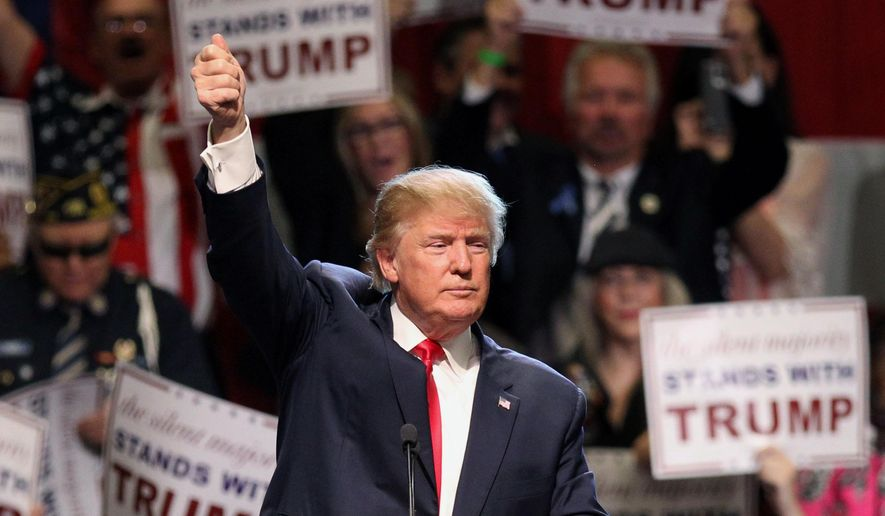Republican presidential candidate Donald Trump gives the thumbs up sign as he speaks during a rally at the Nugget Convention Center in Sparks, Nev., Thursday, Oct. 29, 2015. (AP Photo/Lance Iversen) ** FILE **