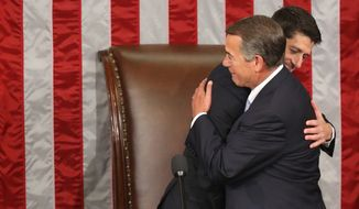 Then-outgoing House Speaker John Boehner of Ohio hugs his successor, Rep. Paul Ryan of Wisconsin, in the House Chamber on Thursday, Oct. 29. Mr. Ryan's promotion may nix his White House dreams, as it's been nearly two centuries since a House speaker has campaigned for and won the presidency. (Associated Press)