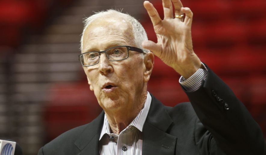 San Diego State basketball coach Steve Fisher speaks at a news conference where the floor at the Viejas Arena was named after him Thursday, Oct. 29, 2015, San Diego. (AP Photo/Lenny Ignelzi)