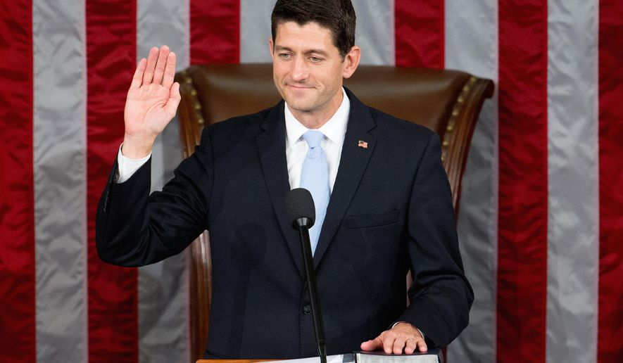 Newly elected House Speaker Paul Ryan, of Wis., takes the oath of office in the House Chamber on Capitol Hill in Washington, Thursday, Oct. 29, 2015. Republicans rallied behind Ryan to elect him the House's 54th speaker on Thursday as a splintered GOP turned to the youthful but battle-tested lawmaker to mend its self-inflicted wounds and craft a conservative message to woo voters in next year's elections. (AP Photo/Andrew Harnik)