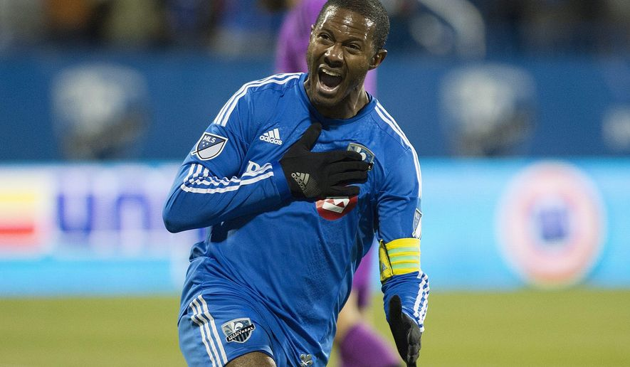 Montreal Impact's Patrice Bernier celebrates after scoring against Toronto FC during first-half MLS soccer sudden death playoff game in Montreal on Thursday, Oct. 29, 2015. (Graham Hughes/The Canadian Press via AP) MANDATORY CREDIT