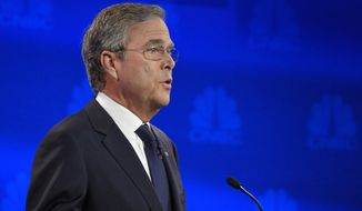 Jeb Bush makes a point during the CNBC Republican presidential debate at the University of Colorado, Wednesday, Oct. 28, 2015, in Boulder, Colo. (AP Photo/Mark J. Terrill)