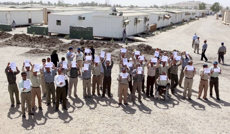While the casualty count could not be immediately verified, Iraqi police confirmed that at least 16 rockets had rained down on Camp Liberty, a facility the Iraqi government has used since 2012 to house more than 2,000 members of the Iranian opposition group known as the Mujahedeen-e-Khalq, or MEK. (Associated Press)