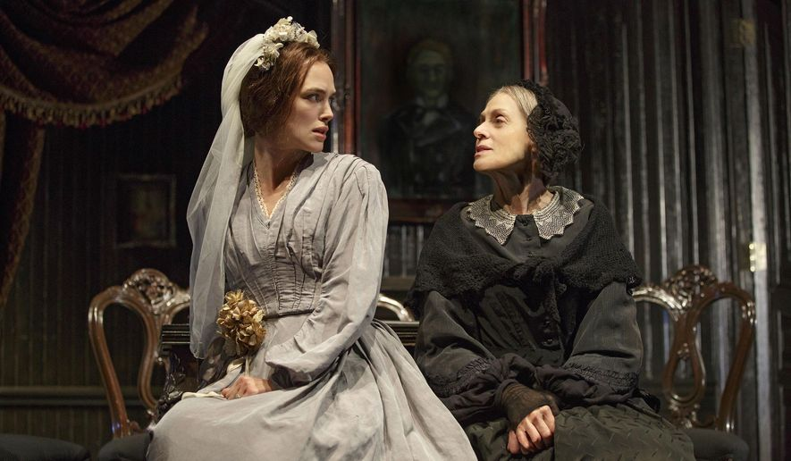 "In this image released by Polk & Co., Keira Knightley, left, and Judith Light appear during a performance of ""Therese Raquin,"" at the Studio 54 theater in New York. (Joan Marcus/Polk & Co. via AP)"