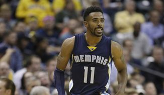Memphis Grizzlies' Mike Conley (11) celebrates after hitting a basket during the second half of an NBA basketball game against the Indiana Pacers, Thursday, Oct. 29, 2015, in Indianapolis. The Grizzlies won the game 112-103. (AP Photo/Darron Cummings)