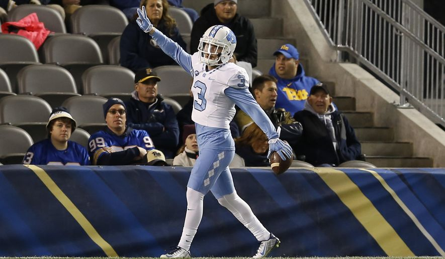 North Carolina wide receiver Ryan Switzer (3) celebrates in the end zone after running in for a touchdown after catching a pass in the second quarter of an NCAA college football game against Pittsburgh, Thursday, Oct. 29, 2015, in Pittsburgh. (AP Photo/Keith Srakocic)