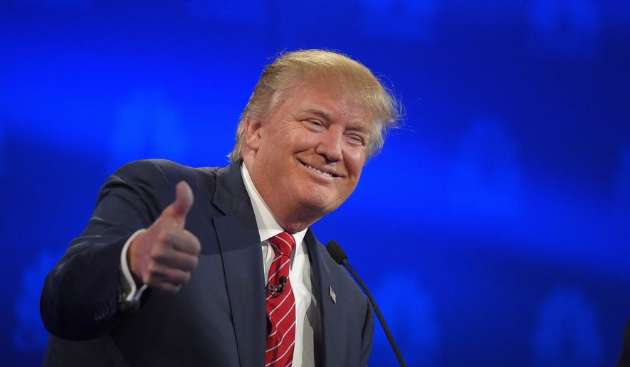 Donald Trump makes a point during the CNBC Republican presidential debate at the University of Colorado, Wednesday, Oct. 28, 2015, in Boulder, Colo. (AP Photo/Mark J. Terrill) ** FILE **