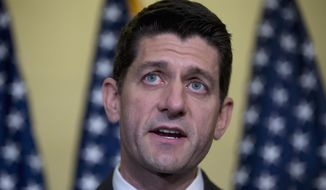 Rep. Paul Ryan, Wisconsin Republican, speaks to reporters on Capitol Hill in Washington on Oct. 28, 2015, after a special GOP leadership election. (Associated Press)