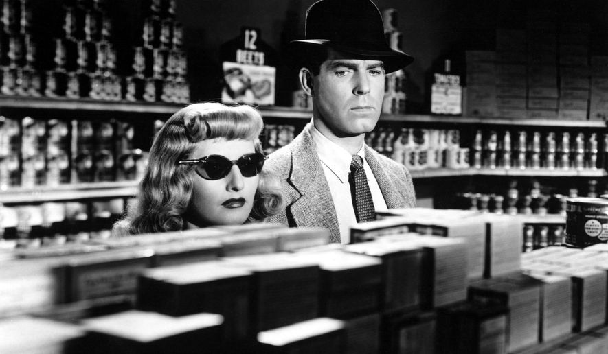 "Barbara Stanwyck and Fred MacMurray in the 1944 film noir ""Double Indemnity."""