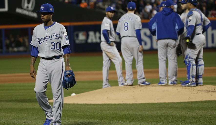 Kansas City Royals pitcher Yordano Ventura walks off the infield after being relieved by Danny Duffy during the fourth inning of Game 3 of the Major League Baseball World Series against the New York Mets Friday, Oct. 30, 2015, in New York. (AP Photo/Matt Slocum)