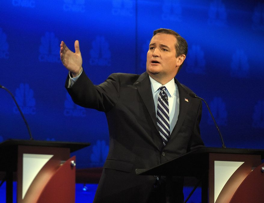 Republican presidential candidate Sen. Ted Cruz, Texas Republican, talks about the mainstream media during the CNBC Republican presidential debate at the University of Colorado in Boulder, Colo., in this Oct. 28, 2015, file photo. (AP Photo/Mark J. Terrill) ** FILE **
