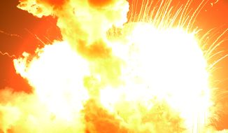 In this Tuesday, Oct. 28, 2014, file photo, an unmanned Orbital Sciences Corp.'s Antares rocket headed for the International Space Station explodes shortly after liftoff at Wallops Flight Facility on Wallops Island, Va. In a report released in October 2015, NASA's independent review team said a fire and explosion in a rocket engine are to blame for the failed space station shipment last October. (Jay Diem/Eastern Shore News via AP)