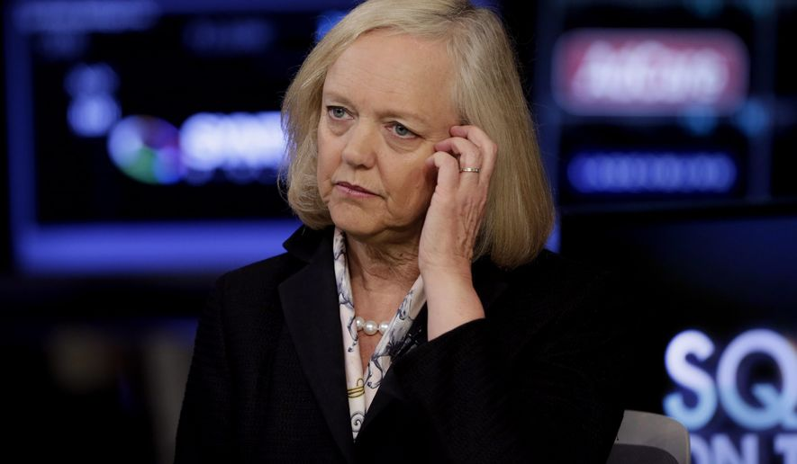 FILE - In this Aug. 21, 2014, file photo, Meg Whitman, CEO of Hewlett-Packard, is interviewed on the floor of the New York Stock Exchange in New York. Hewlett-Packard, one of the nation's most storied tech companies will split in two this weekend of Oct. 31, 2015, another casualty of seismic shifts in the way people use technology and big-company sluggishness in responding. (AP Photo/Richard Drew, File)