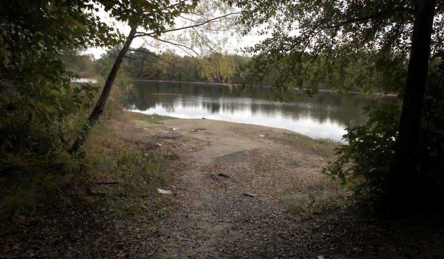 c- This photo taken Friday, Oct. 23, 2015, shows a portion of a 60-acre tract of land called Epping Forest Manor, an estate once owned by a wealthy cotton merchant and famed big-game hunter in Memphis, Tenn. Within months, new attention will be focused on the tract of land in the Raleigh area of Memphis as the Wolf River Conservancy breaks ground on new sections of a planned greenway, or multiuse trail that will follow the river throughout Shelby County.  (Nikki Boertman/The Commercial Appeal via AP) MANDATORY CREDIT