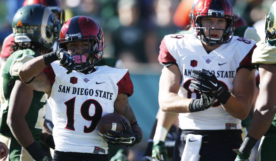 San Diego State running back Donnel Pumphrey, left, celebrates after rushing for a one-yard touchdown as tight end Daniel Brunskill looks on against Colorado State in the first half of an NCAA college football game, Saturday, Oct. 31, 2015, in Fort Collins, Colo. (AP Photo/David Zalubowski)