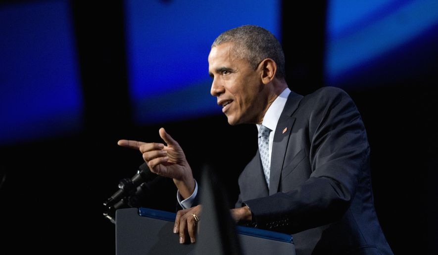 In this Oct. 27, 2015, photo, President Barack Obama speaks at the 122nd International Association of Chiefs of Police Annual Conference in Chicago. Even as Obama sent U.S. troops back to Iraq and ordered the military to stay in Afghanistan, he insisted Syria would remain off limits for American ground forces. Now the president has crossed his own red line.  (AP Photo/Pablo Martinez Monsivais)