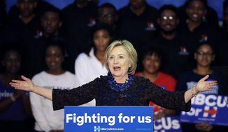 Democratic presidential candidate Hillary Rodham Clinton speaks during a campaign event at Clark Atlanta University Friday, Oct. 30, 2015, in Atlanta. (AP Photo/David Goldman)