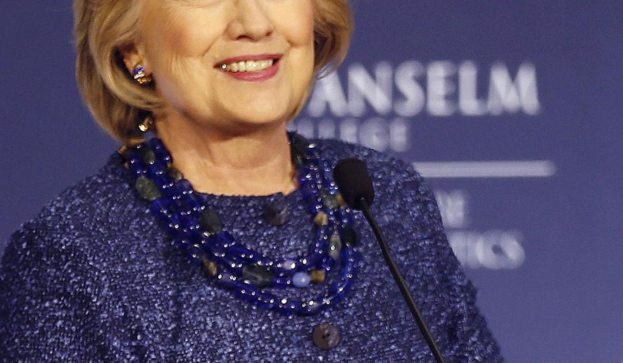 Democratic presidential candidate Hillary Rodham Clinton arrives to speak at a campaign stop at the New Hampshire Institute of Politics at Saint Anselm College, Wednesday, Oct. 28, 2015, in Manchester, N.H. (AP Photo/Jim Cole)