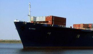 This undated photo provided by TOTE Maritime shows the cargo ship El Faro. (TOTE Maritime via AP) **FILE**