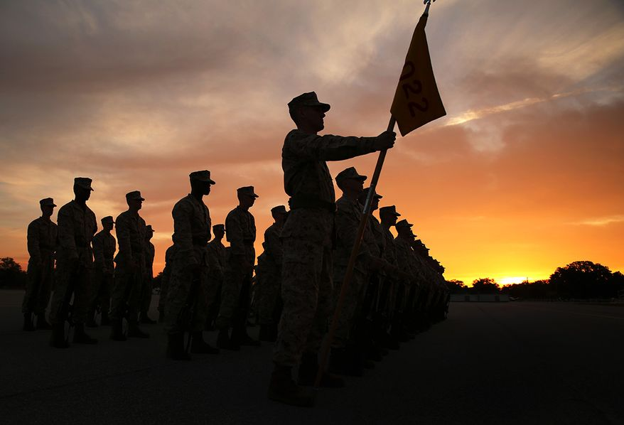 Recruits of Platoon 1022, Charlie Company, 1st Recruit Training Battalion, stand in formation during their initial drill evaluation Feb. 10, 2014, at Marine Corps Recruit Depot Parris Island, S.C. During the evaluation, recruits performed a series of precision drill movements and could only move when ordered. The platoons will be evaluated again a week before graduation. Charlie Company is scheduled to graduate April 4, 2014.   (U.S. Marine Corps photo by Cpl. Octavia Davis/Released)