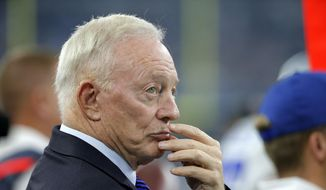 Dallas Cowboys owner Jerry Jones stands on the sideline during the first half of an NFL football game against the Seattle Seahawks Sunday, Nov. 1, 2015, in Arlington, Texas. Jones participated in a Cowboys Ring of Honor ceremony where former player Darren Woodson was inducted. (AP Photo/Brandon Wade)