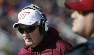 Virginia Tech head coach Frank Beamer during the second quarter of an NCAA college football game against Boston College in Boston, Saturday, Oct. 31, 2015. (AP Photo/Michael Dwyer)