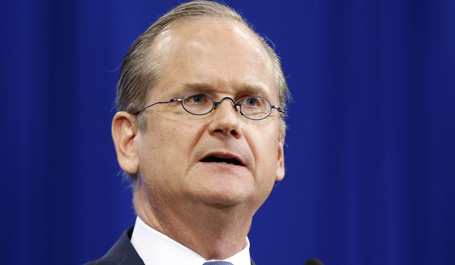 Lawrence Lessig, Democratic presidential candidate and Harvard law professor, speaks at the New Hampshire Democratic Convention in Manchester on Sept. 19, 2015. (Associated Press) ** FILE **